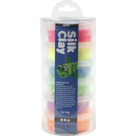 Silk Clay , kleuren assorti, neon, 6x14gr