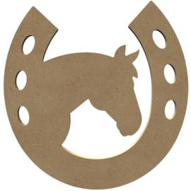 Paardenhoofd in hoefijzer MDF 26 cm
