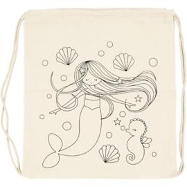 Zeemeermin tas en houten zeemeermin
