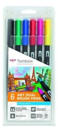 Tombow 6 dual brush pen primary
