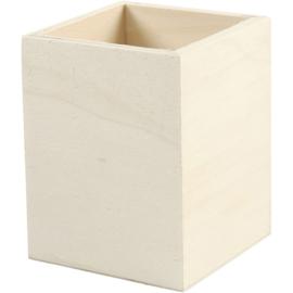 Pennenbak triplex, 7,5 x 7,5 cm hoogte 9,5 cm