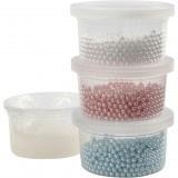 Pearl Clay, 3x25 gr, lichtblauw, off-white, lichtrood, 1set