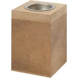waxinelichthouder blok 7 x 7 cm,  h 10 cm