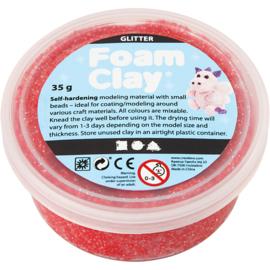 Foam Clay, rood, glitter, 35gr