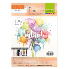Watercolorpaper A4 Florene  200 gr smooth 12 losse vellen