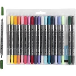 Textielstiften, lijndikte: 2,3+3,6 mm, standaardkleuren, 20stuks