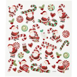 stickers, kerstman met zuurstok,  15 x16