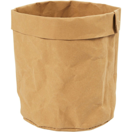 Faux Leather opslagzak, d: 11 cm, h: 12 , lichtbruin, 1stuk