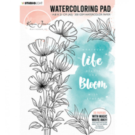 Watercoloring pad A5 20 vel - Karin Joan Blooming collection nr.01