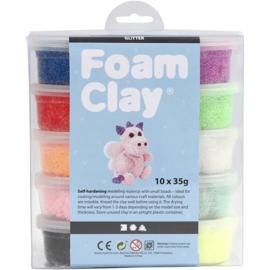 Foam Clay, kleuren assorti, glitter, 10x35gr
