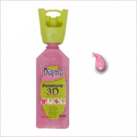 DI40937- 3D verf transparante glitter roze (framboise)