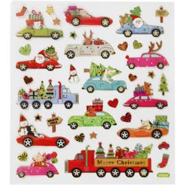 stickers, naar huis rijden met kerst,  15 x16