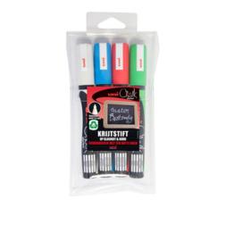 Uni Chalk marker set 4 kleuren basis