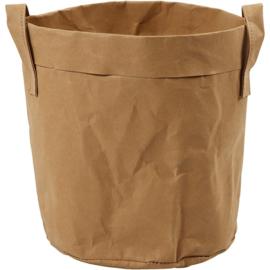 Faux Leather opslagzak, d: 19,5 cm, h: 20 , lichtbruin, 1stuk