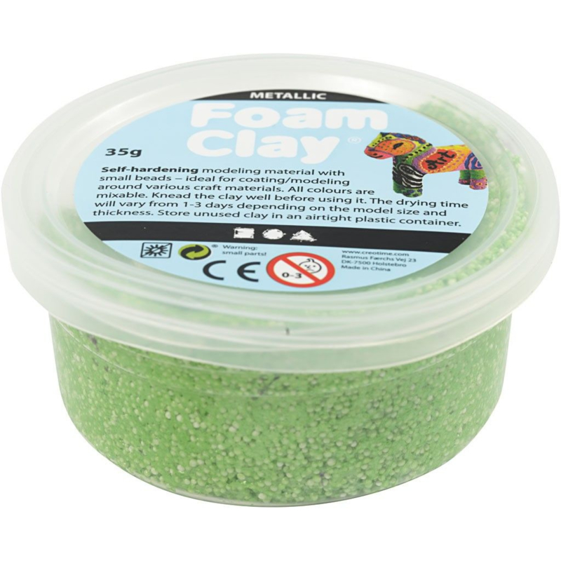 Foam Clay, groen, metallic, 35gr