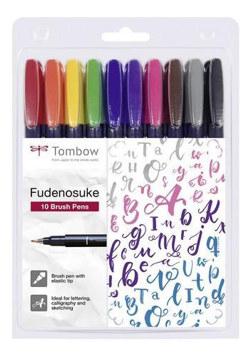 Tombow Brush pen Fudenosuke hard SET 10 KLEUREN