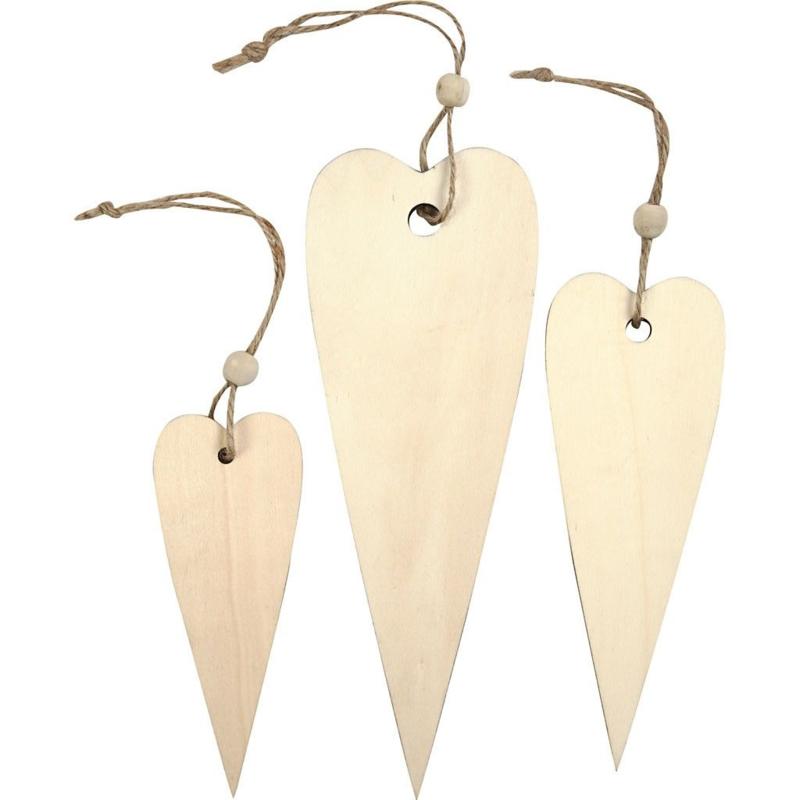set houten harten  12+16+20 cm, dikte 5 mm