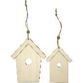 houten vogelhuis plat, h: 13+17,5 cm, dikte 5 mm, 2stuks