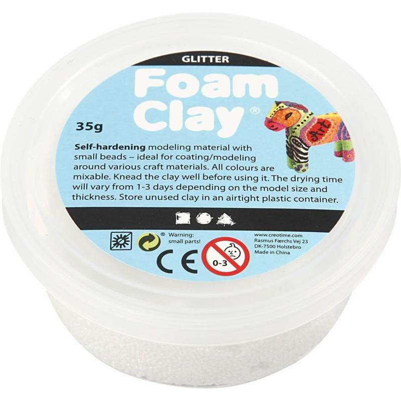 Foam Clay, wit, glitter, 35gr