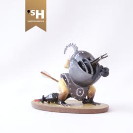 Jheronimus Bosch miniatuur ''Gehelmd Vogelmonster''