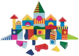 Houten blokkenpuzzel stad