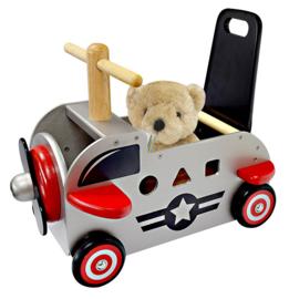 Houten loopwagen & duwwagen vliegtuig I'm Toy