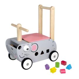 Houten loopwagen & duwwagen muis I'm Toy