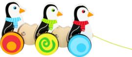 Houten trekfiguur pinguïn