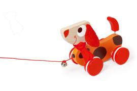 Houten trekfiguur hond Oscar rood