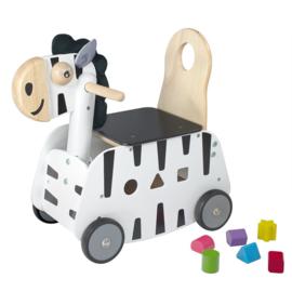 Houten loopwagen & duwwagen zebra I'm Toy