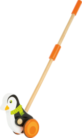 Houten duwfiguur pinguïn