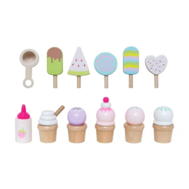 Houten ijskar met ijsjes JaBaDaBaDo