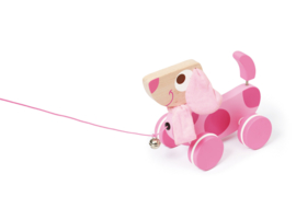 Houten trekfiguur hond Lily roze