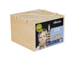 BBlocks bouwplankjes 500 stuks in houten kist