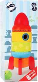 Houten stapeltoren raket