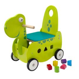 Houten loopwagen & duwwagen Dino I'm Toy