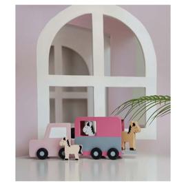 Houten paardentrailer roze JaBaDaBaDo