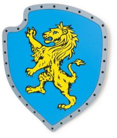 Houten wapenschild gele leeuw