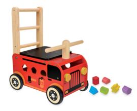 Houten loopwagen & duwwagen brandweer I'm Toy