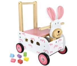 Houten loopwagen & duwwagen konijn roze I'm Toy