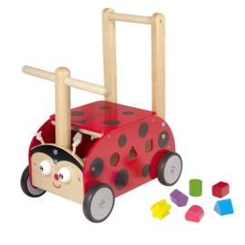 Houten loopwagen & duwwagen lieveheersbeestje I'm Toy