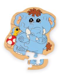Houten puzzel olifant in opbergzakje