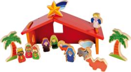 Houten kerststal rood incl. 14 figuren