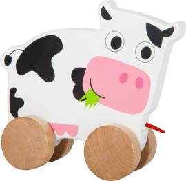 Houten trekfiguur koe