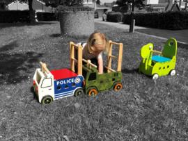 Houten loopwagen & duwwagen politievoertuig I'm Toy