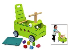 Houten loopwagen & duwwagen krokodil I'm Toy
