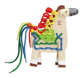 Houten rijgspel pony