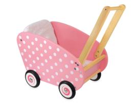 Houten poppenwagen roze met witte stippen I'm Toy