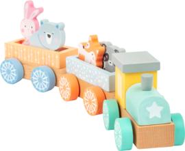 Houten trein met dieren pastelkleuren