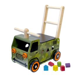 Houten loopwagen & duwwagen legervoertuig I'm Toy